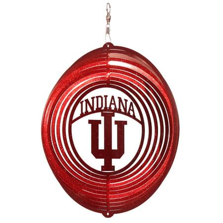 (SWEN Products INDIANA HOOSIERS IU Circle Swirly Metal Wind Spinner)