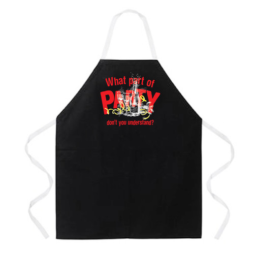 Attitude Aprons by L.A. Imprints What Part of Party Apron in Black