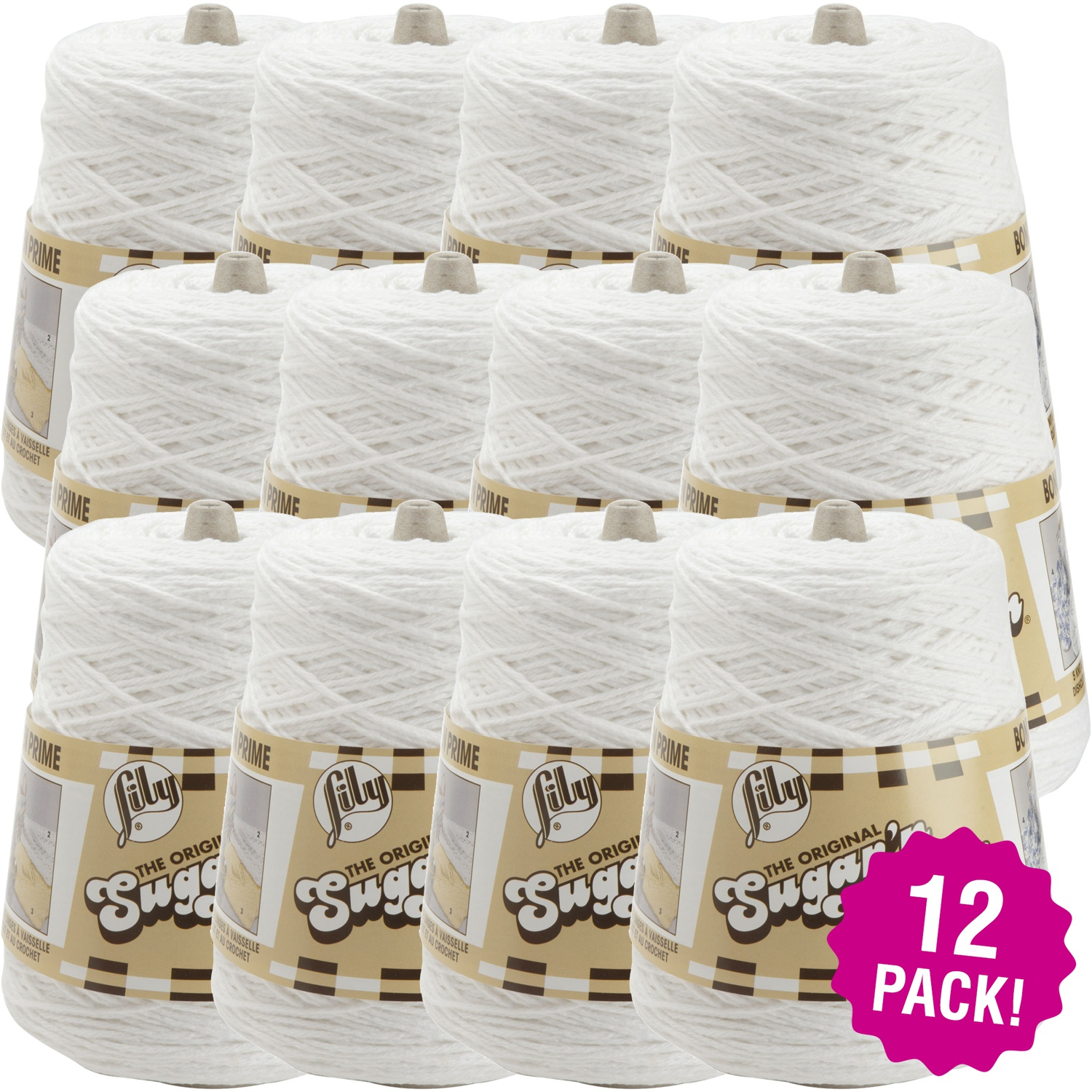 Lily Sugar'n Cream Yarn - Cones White, Multipack of 12