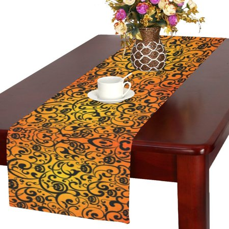 MYPOP Halloween with Pumpkin Polyester Long Table Runner 16x72 incheses, Scary Pumpkin Rectangle Table Cloth Placemat for Office Kitchen Dining Wedding Party Home Decor