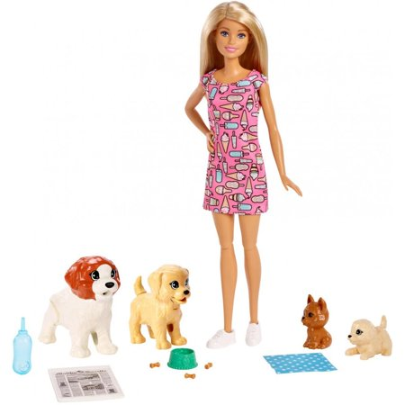 Barbie Doggy Daycare Doll, Blonde Hair with 2 Dogs & 2 Puppies - Blonde Barbie Wig