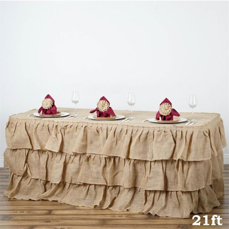 - BalsaCircle 3 Tiers Natural Ruffled Burlap Banquet Table Skirt - Wedding Party Trade Show Booth Events Linens Decorations
