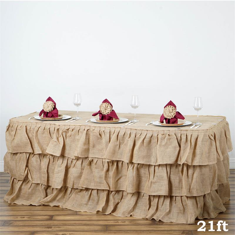 BalsaCircle 3 Tiers Natural Ruffled Burlap Banquet Table Skirt - Wedding Party Trade Show Booth Events Linens Decorations