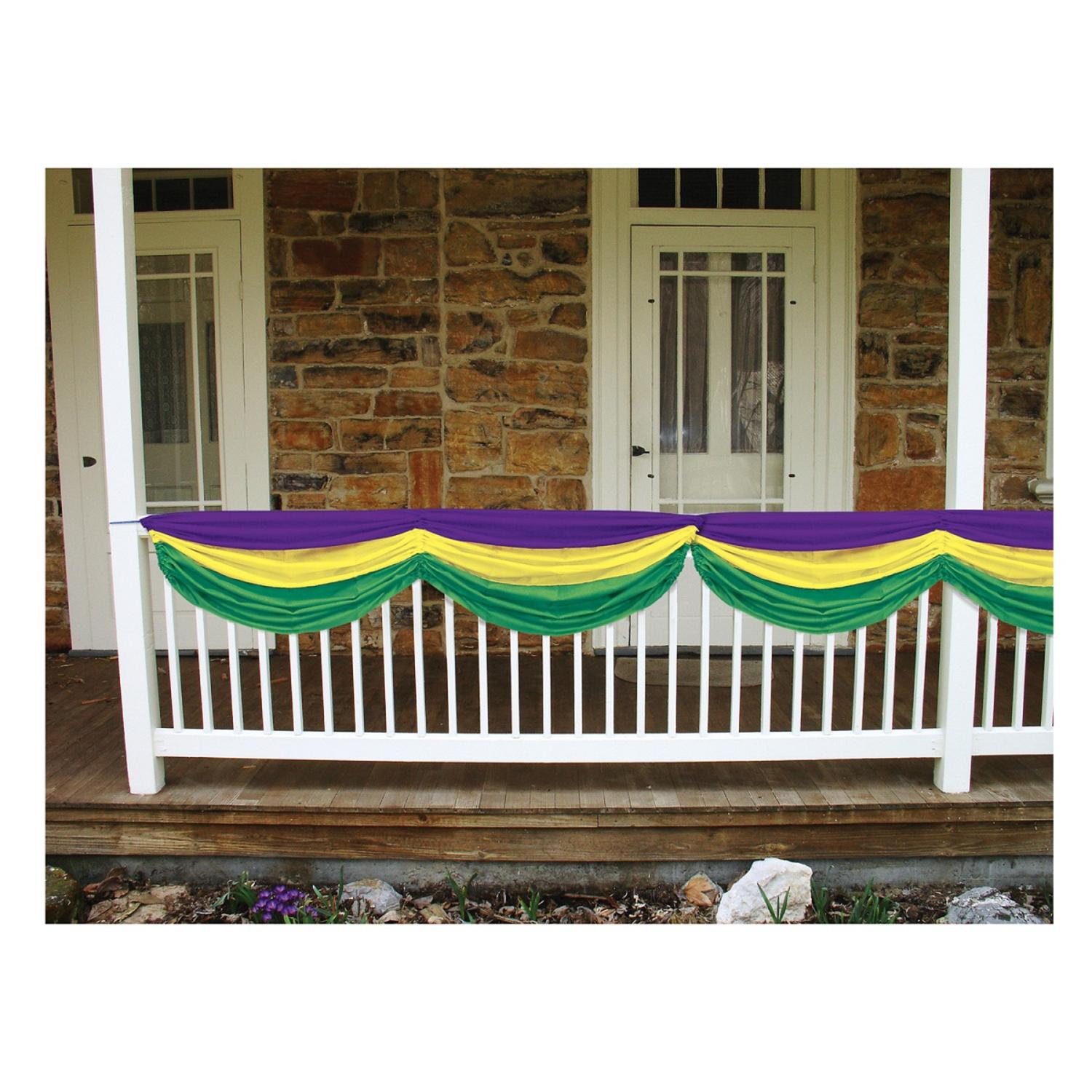 """Pack of 6 Purple, Golden Yellow and Green Mardi Gras Fabric Bunting Hanging Decorations 70"""""""