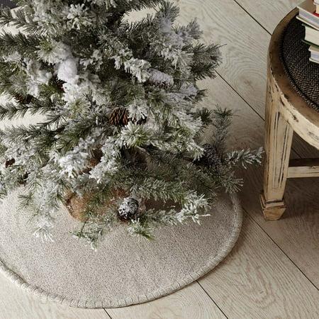 Creme White Farmhouse Christmas Decor Nowell Cotton Burlap Solid Color 21 Diameter Tree Skirt