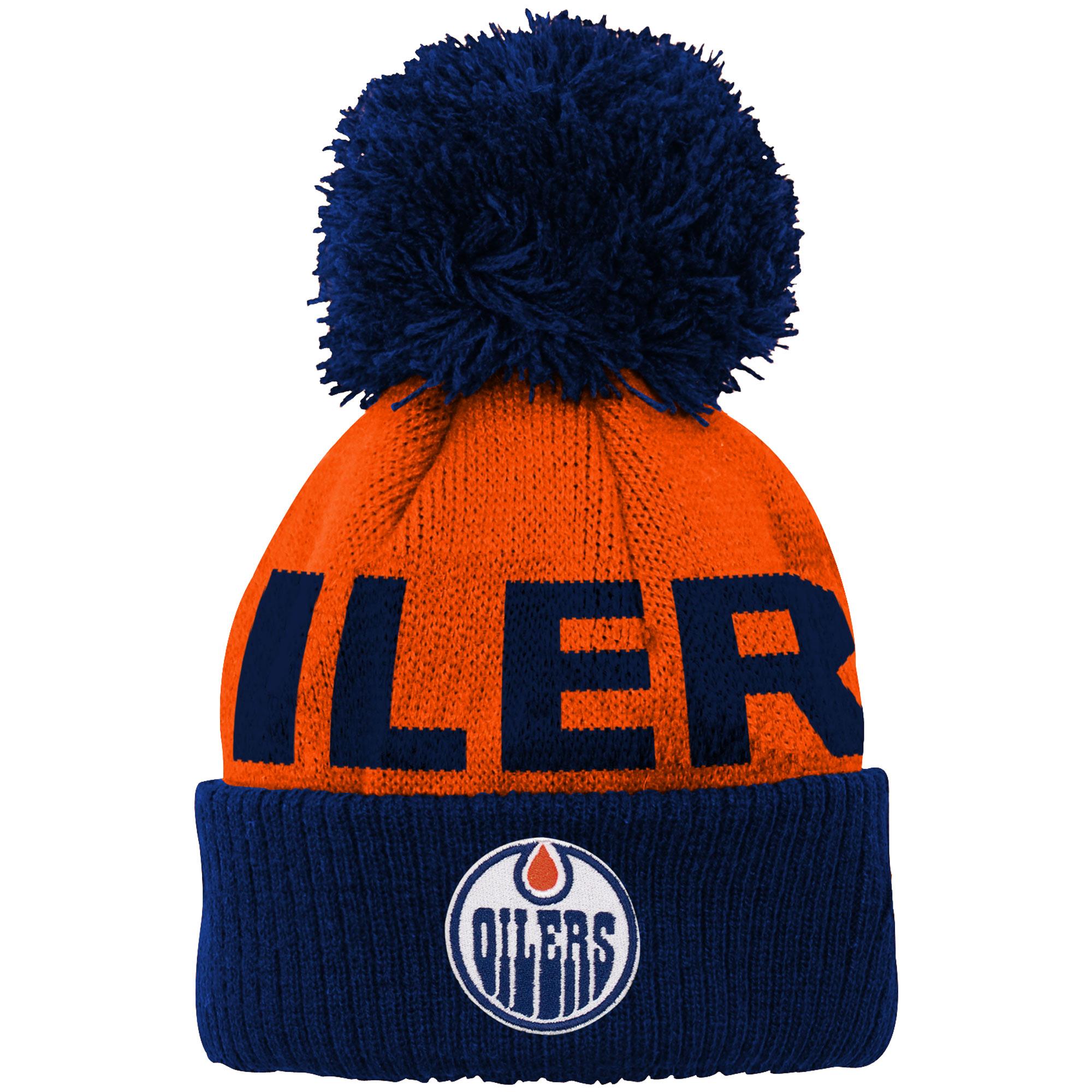 Edmonton Oilers Newborn & Infant Block Wordmark Cuffed Pom Knit Hat - Orange - OSFA