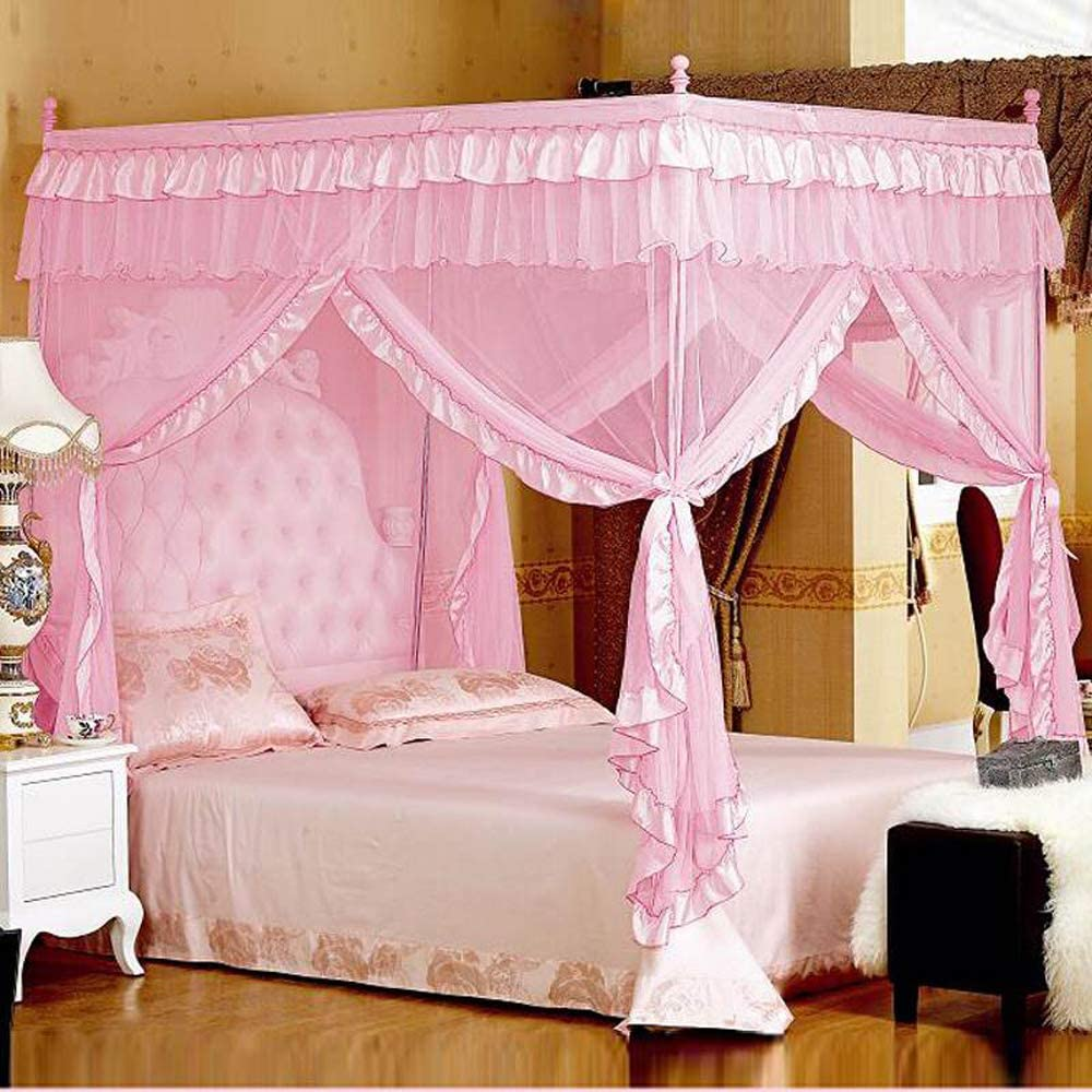Nattey Comfort Princess Bed Canopy Curtain for Girls Gift Pink Star