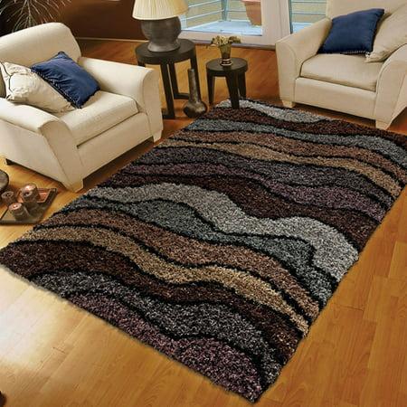 Orian Whisper Waves Multicolor Shag Area Rug 5x8