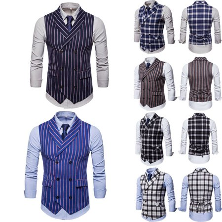 Plus Size Men Formal Plaids Dress Vest Double Breasted Checks Waistcoats Costume Breasted Check Jacket