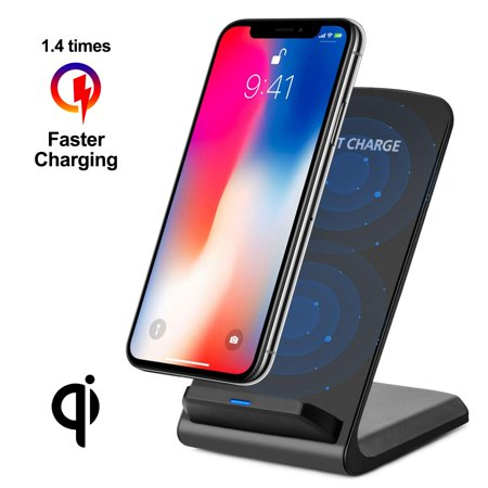 Wireless Fast Charger, WADEO 10W Qi Wireless Charging Dock Stand Compatible with iPhone XR/Xs Max/XS/X/8/8 Plus, Samsung Galaxy S10/S9/S9+/S8/S8+ Smart