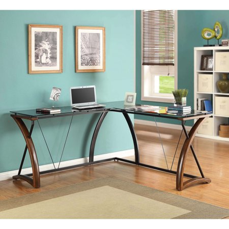 Whalen Newport Wood Gl L Shaped Desk Black Desktop