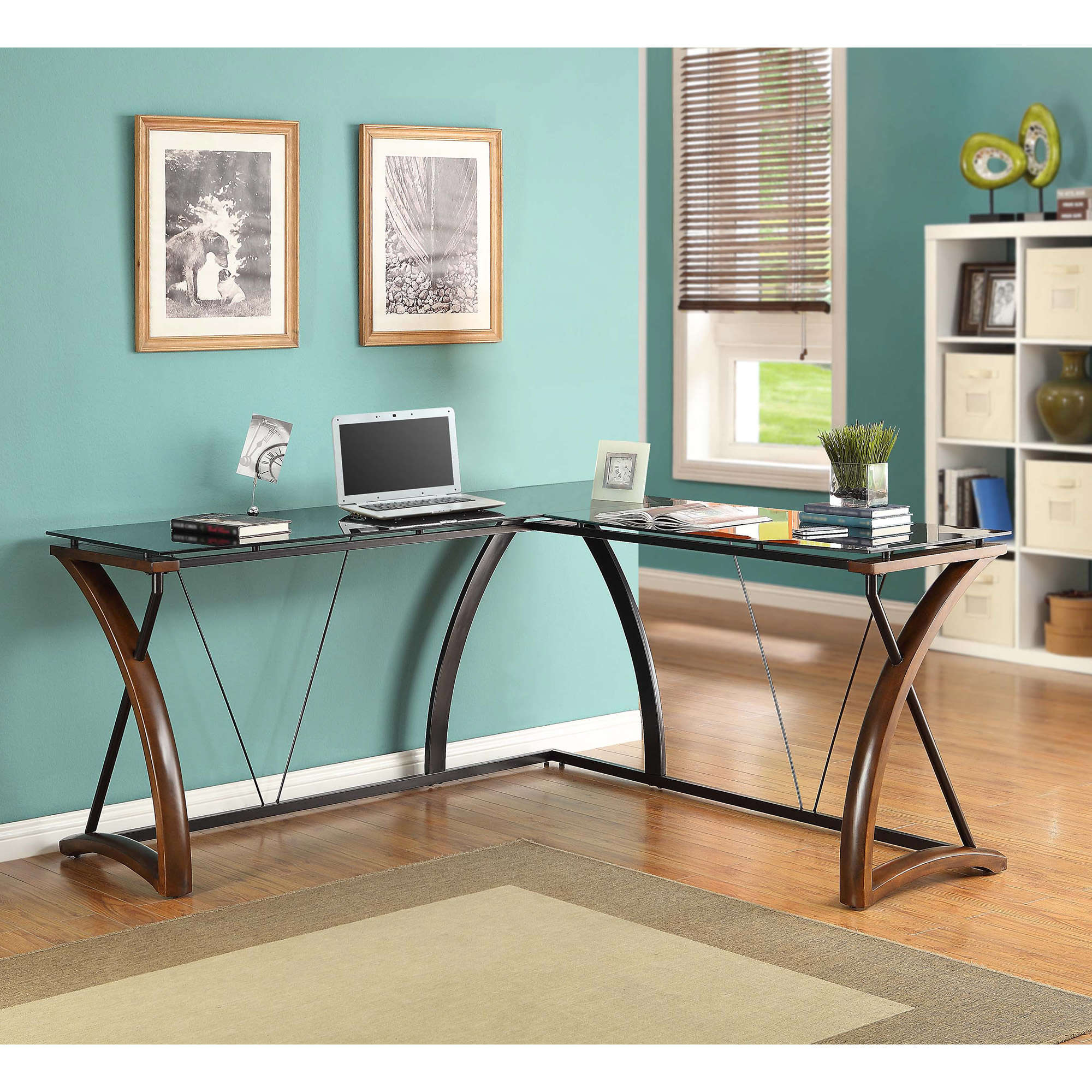whalen newport wood u0026 glass lshaped desk black glass desktop