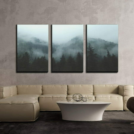 - wall26 - 3 Piece Canvas Wall Art - Mountain Forest in Fog - Modern Home Decor Stretched and Framed Ready to Hang - 24