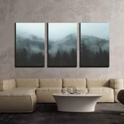 """wall26 - 3 Piece Canvas Wall Art - Mountain Forest in Fog - Modern Home Decor Stretched and Framed Ready to Hang - 24""""x36""""x3 Panels"""