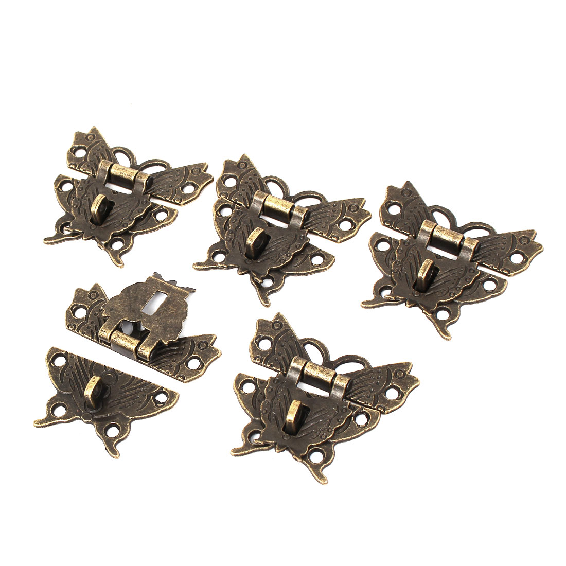 Wooden Case Box Butterfly Shape Hasp Lock Latch Bronze Tone 5pcs
