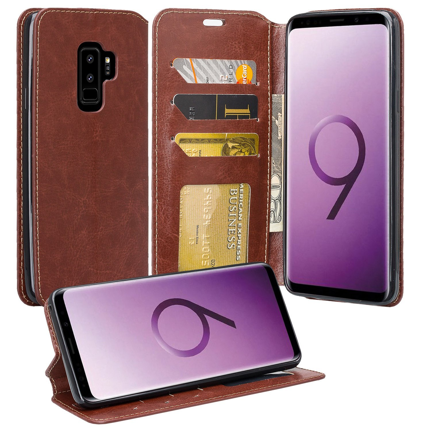 Samsung Galaxy S9 Cases, Slim Flip [Kickstand] Pu Leather Magnetic Fold Wallet Case Cover w/ Card Slots - Rainbow Flower