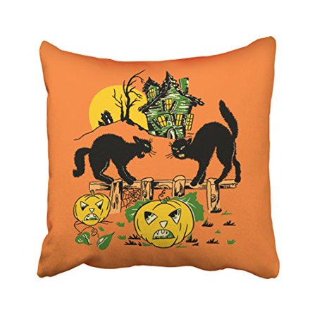 WinHome Abstract Vintage Fashion Two Halloween Black Cats And Haunted Pumpkin House Polyester 18 x 18 Inch Square Throw Pillow Covers With Hidden Zipper Home Sofa Cushion Decorative Pillowcases (Halloween Pumpkins Black Cat)