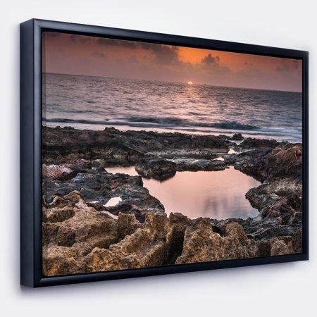 DESIGN ART Designart 'Rocky African Coastline Sunset' Oversized Beach Framed Canvas Artwork (African Art Work)