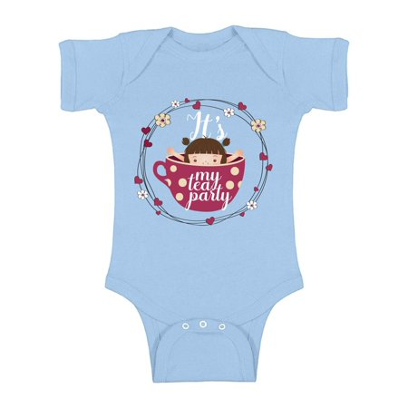 Awkward Styles Tea Party Bodysuit Short Sleeve for Newborn Baby Cute Baby Shower Gifts Girls Tea Party Clothing Tea Party One Piece Top Themed Party Outfit for Baby Girls Tea Party Gift - Themes For Girl Parties