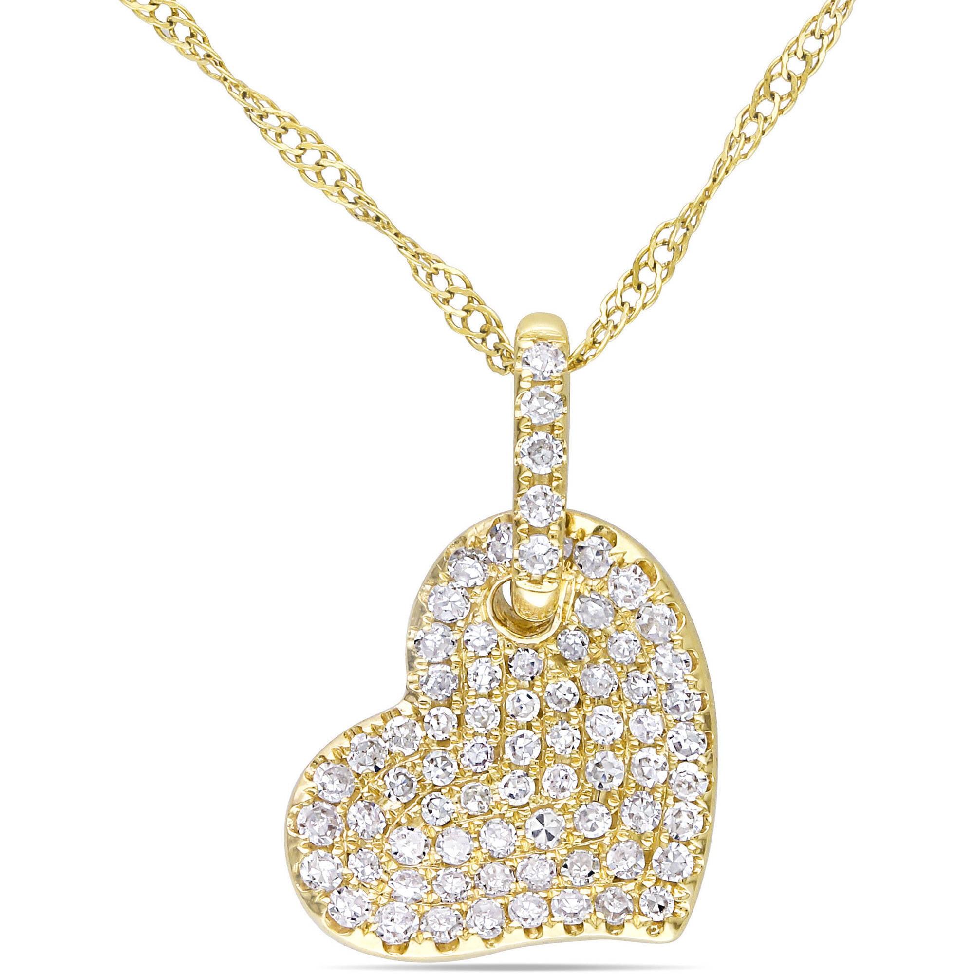 "Miabella 1 4 Carat T.W. Diamond 14kt Yellow Gold Heart Pendant, 17"" by Miabella"