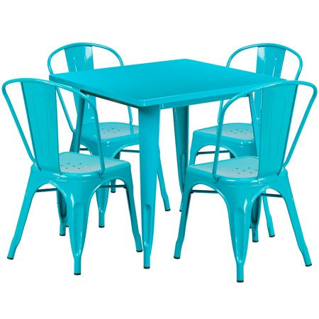 Flash Furniture 31.5'' Square Metal Indoor-Outdoor Table Set with 4 Stack Chairs, Multiple Colors ()