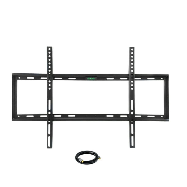 "MegaMounts Smooth Black Matt Finish Fixed Television Mount for 26""- 55"" LCD, LED and Plasma Televisions with HDMI Cable"