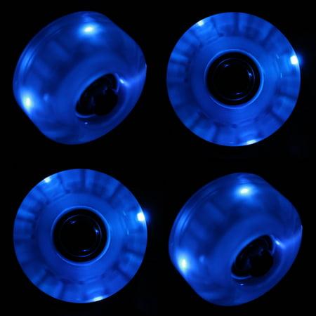 LED Skateboard Wheels 54mm BLUE Glow Cruiser Longboard LIGHTS + ABEC 9 BEARINGS