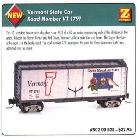 MicroTrains Z State of the Union Series - Vermont - 40' Box Plug -
