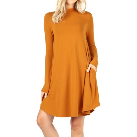 Womens & Plus Mock Neck Long Sleeve Flared A-Line Tunic Midi Dress with Pockets