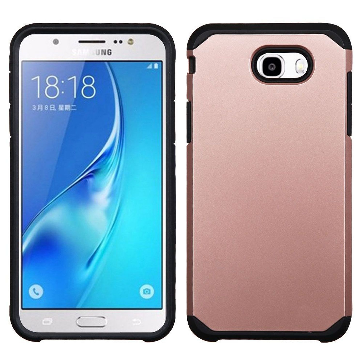 Samsung Galaxy J7 Sky Pro case, Samsung Galaxy Sky Pro case, by Insten Dual Layer [Shock Absorbing] Hybrid Hard Plastic/Soft TPU Rubber Case Cover For Samsung Galaxy J7 (2017)/Sky Pro, Rose Gold/Black