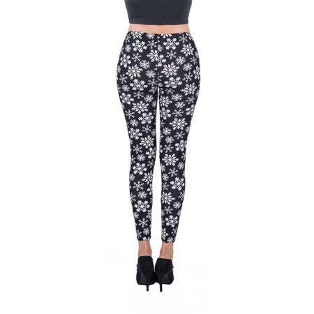AERUSI Women's Snowflake Design Full Length Stretchy Leggings