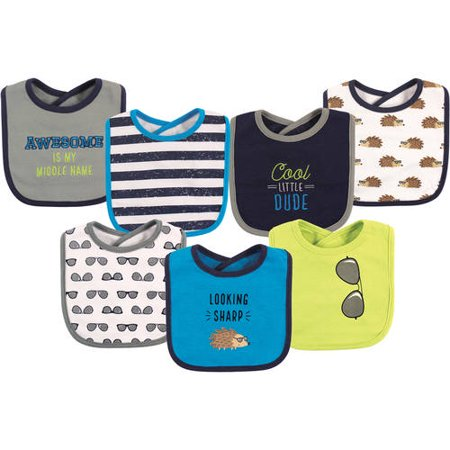 Boy and Girl Cotton Drooler Bib, 7-Pack - Hedgehog
