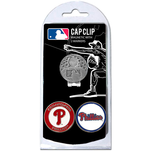 Team Golf MLB Philadelphia Phillies Cap Clip With 2 Golf Ball Markers