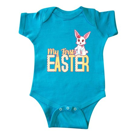 My First Easter with Bunny and Daisies Yellow Infant Creeper (Easter Bunny Onesie)