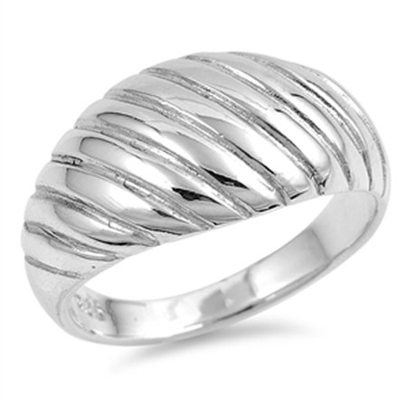 Domed Grooved Wave Wide Statement Ring New .925 Sterling Silver Band Size 10