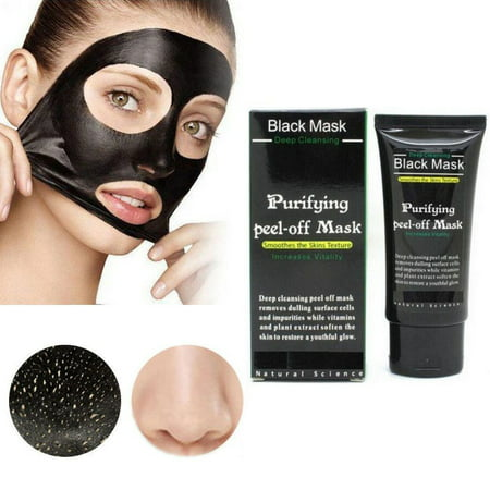 Purifying Black Peel off Mask, Charcoal Face Mask, Blackhead Remover Deep Cleanser, Acne Black Mud Face (Black Face Image)