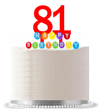 Item#081WCD - Happy 81st Birthday Party Red Cake Topper & Rainbow Candle Stand Elegant Cake Decoration Topper Kit