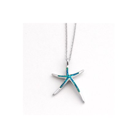 Large Starfish Necklace (Solid Sterling Silver Rhodium Plated Blue Inlay Simulated Opal Large Starfish Pendant Necklace, 18