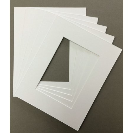 Mutt Mat - Pack of 5 18x24 White Picture Mats Mattes Matting with White Core Bevel Cut for 13x19 Pictures