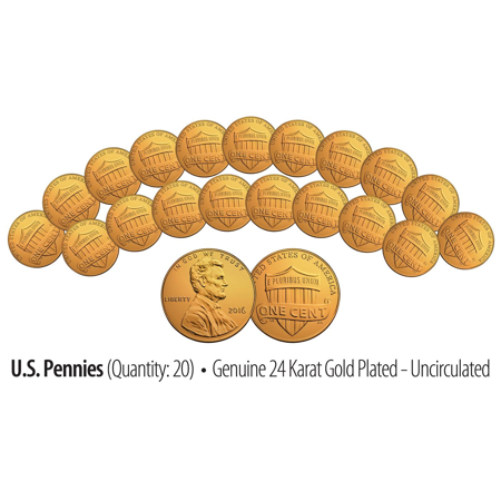 Lot of 20 - Uncirculated Genuine 24K GOLD Plated 2016 US LINCOLN SHIELD (2002 24k Gold Plated)