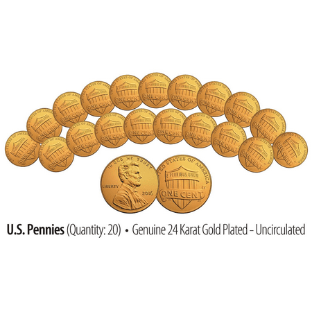 Lincoln Wheat Penny (Lot of 20 - Uncirculated Genuine 24K GOLD Plated 2016 US LINCOLN SHIELD PENNIES )