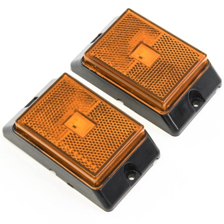 Red Hound Auto 2 Amber LED Side Marker Lights 4 Inches Truck Trailer Pickup Boat