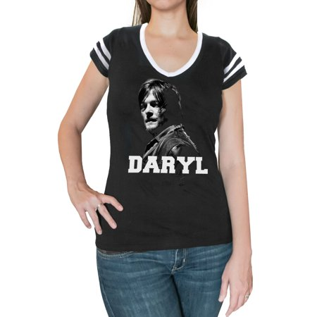 Junior Faces - The Walking Dead Daryl Face Juniors Black T-Shirt | L