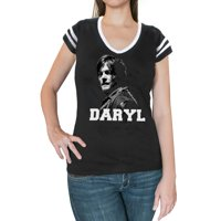 The Walking Dead Daryl Face Juniors Black T-Shirt | L