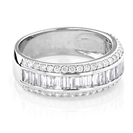 Unisex 14K Round Baguette Natural Diamond Wedding Band For Him And Her (White Gold Size 7.5) Baguette Diamond Men Wedding Band