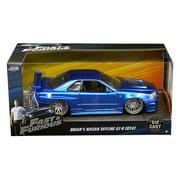 "Brian's Nissan GTR Skyline R34 Blue ""Fast & Furious"" Movie 1/24 Diecast Model Car by Jada"