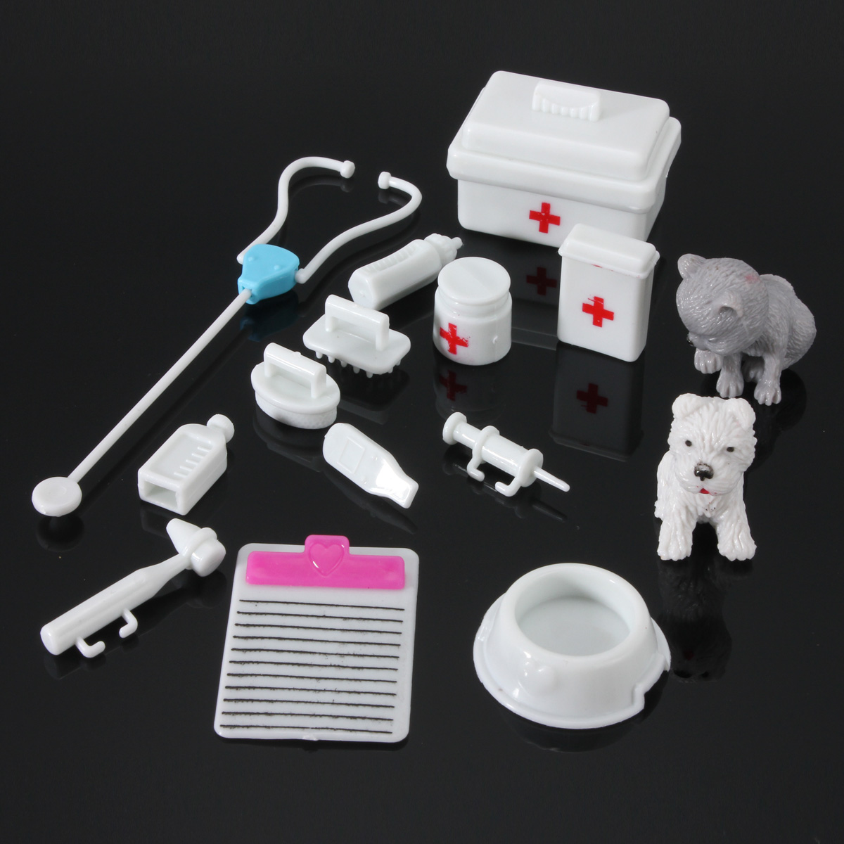 14Pcs Mini Medical Equipment Toys For Barbie Fashion Doll House Accessories Set