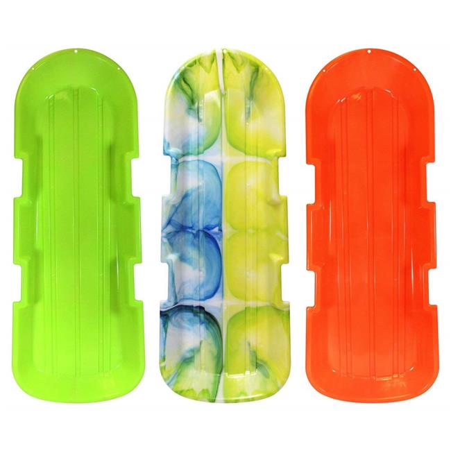 ESP 2914-3 48 in. Day Glow Sno-Twin Toboggan Two-Rider Sled Tough Polyresin, Diamond Polished Bottom - Assorted, Pack of 3 - image 1 of 1