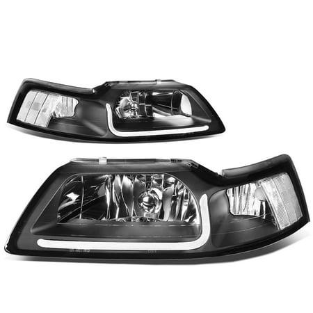 - For 99-04 Ford Mustang LED Daytime Running Light Bar Headlight Black Housing Clear Corner Headlamp 00 01 02 03 Left+Right