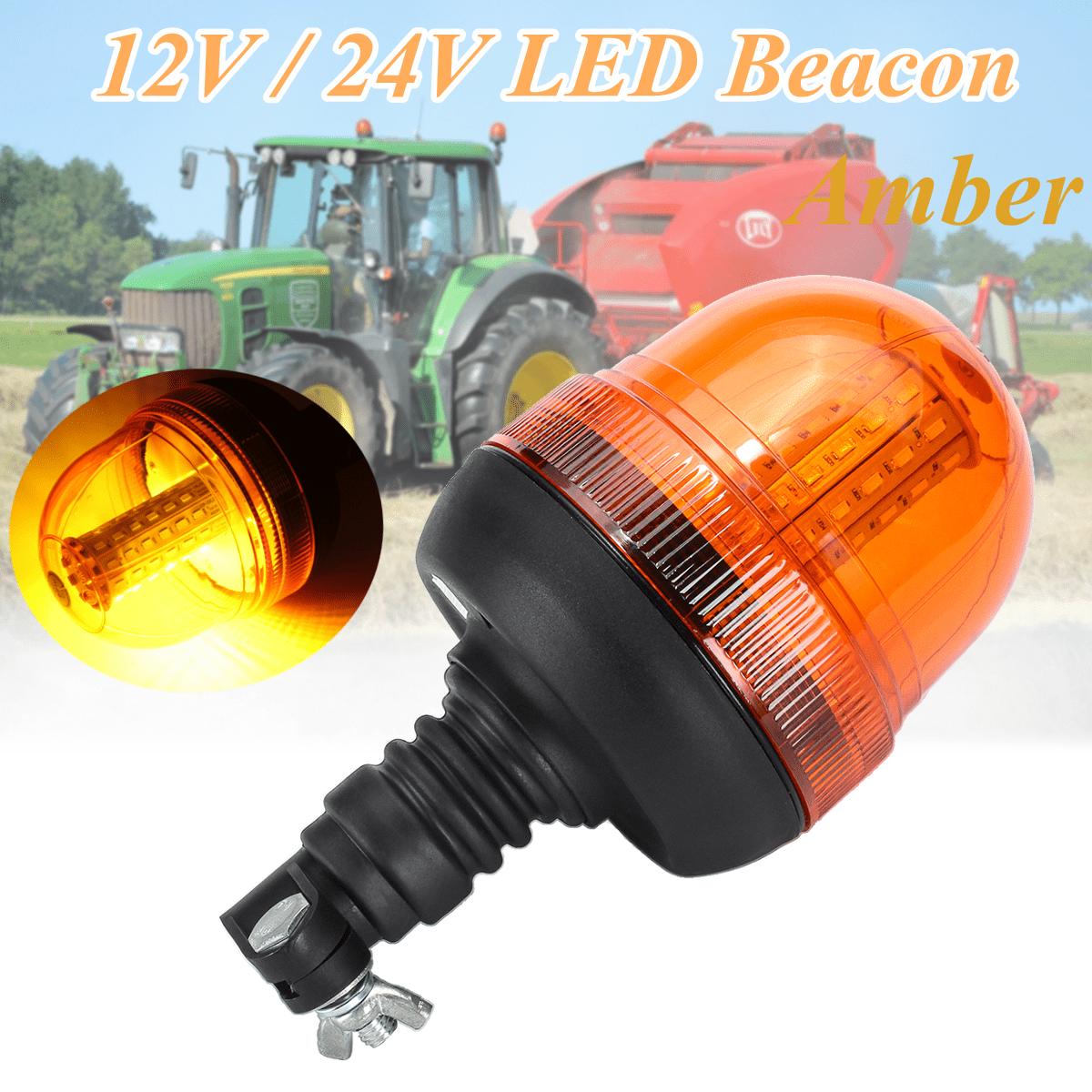 60 LED Rotating Flashing Beacon DIN Pole Mount Warning Emergency Light Lamp 12V
